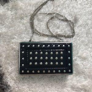 Structured black mini clutch